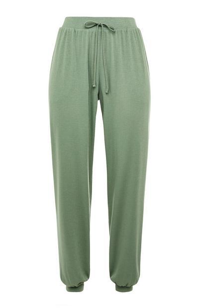 Leggings cordão cintura malha canelada verde