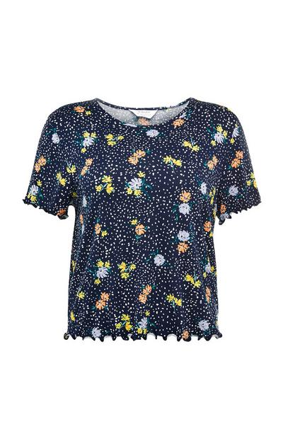 Navy Floral Freckle Print T-Shirt
