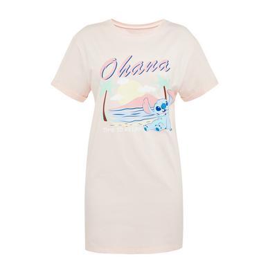 Camisa noite estampado Disney Lilo and Stitch rosa-pálido