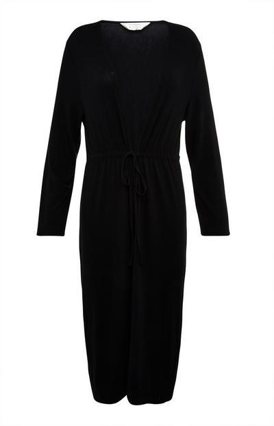 Black Crepe Tie Waist Robe