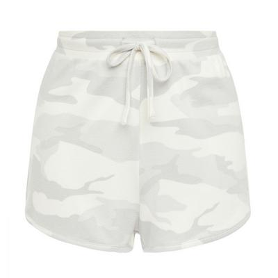 Grey Camo Print Ribbed Polyknit Shorts