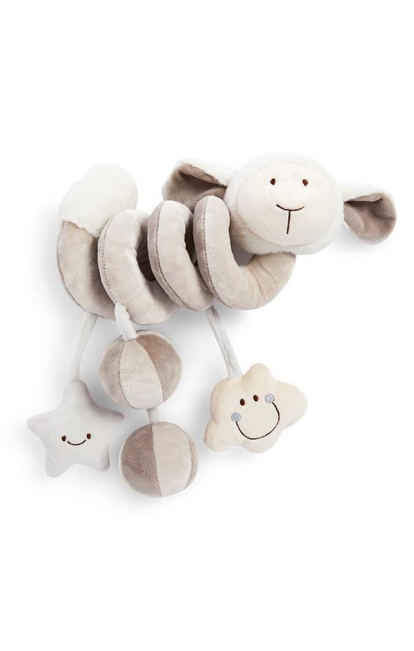 Crèmekleurig babyspiraal van pluche met schaap