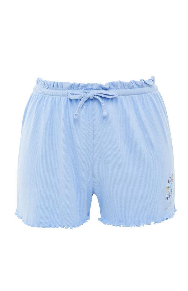 Blue Disney Stitch Ribbed Shorts