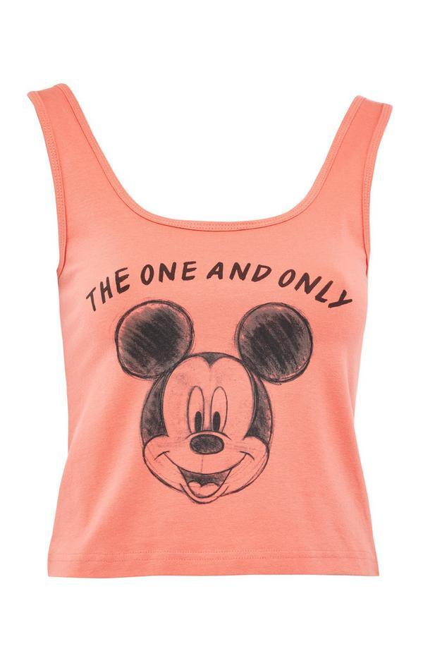 Perzikkleurig kort hemdtopje met geschetste Disney Mickey Mouse