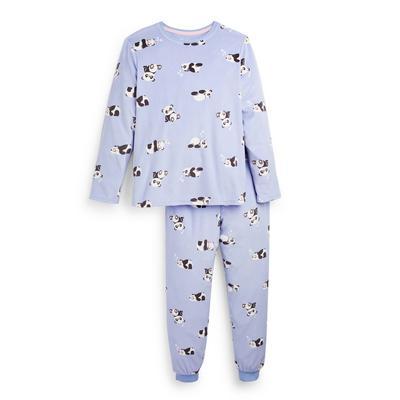 Pijama Minky estampado panda lilás