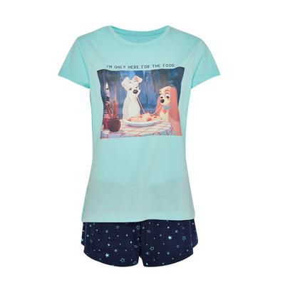 Pijama c/ calções Disney A Dama e o Vagabundo azul