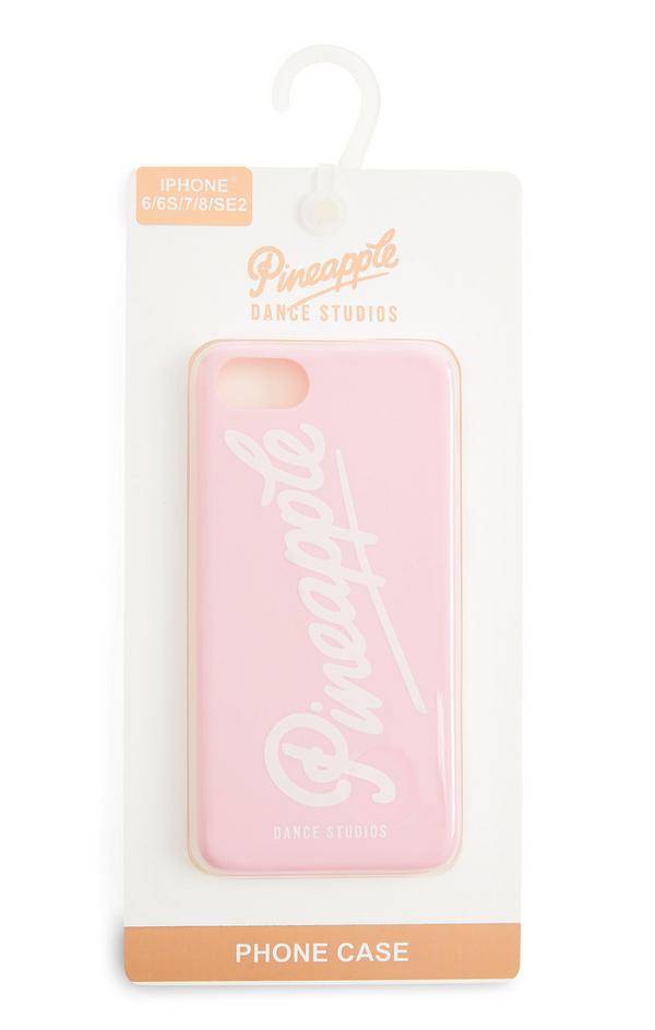 Cover telefono rosa con logo Pineapple