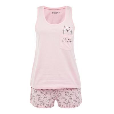 Pink Cat Print Short Pyjamas Set