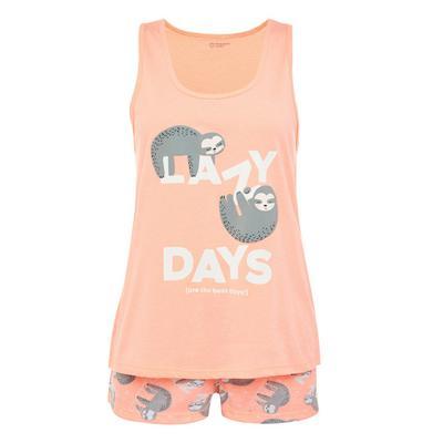 Peach Sloth Print Short Pyjamas Set