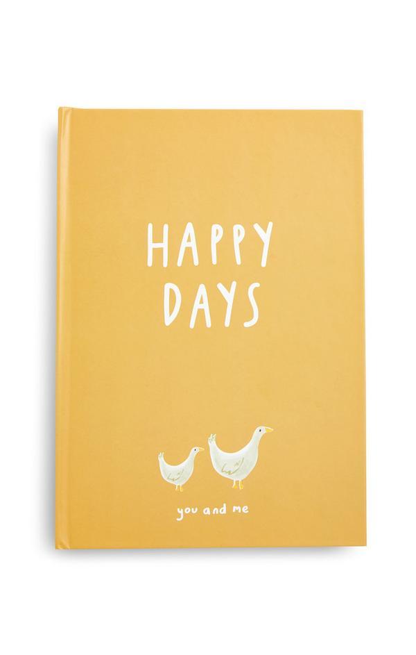 Geel babydagboek Happy Days