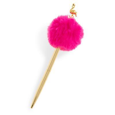 Gold Tone Pink Flamingo Pompom Pen