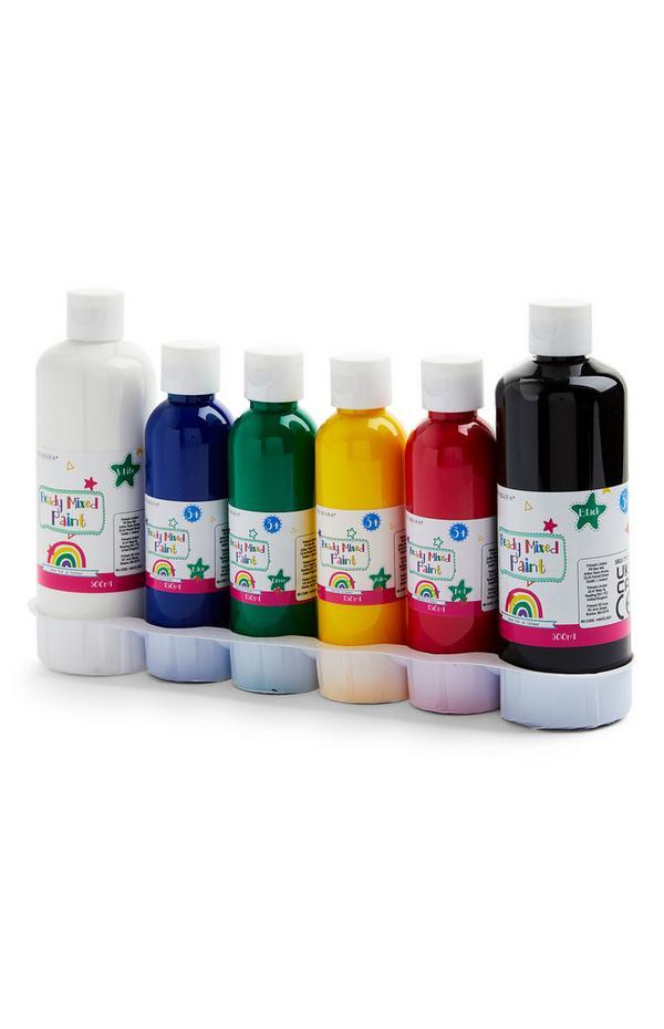 Set van 6 primaire kleuren verf