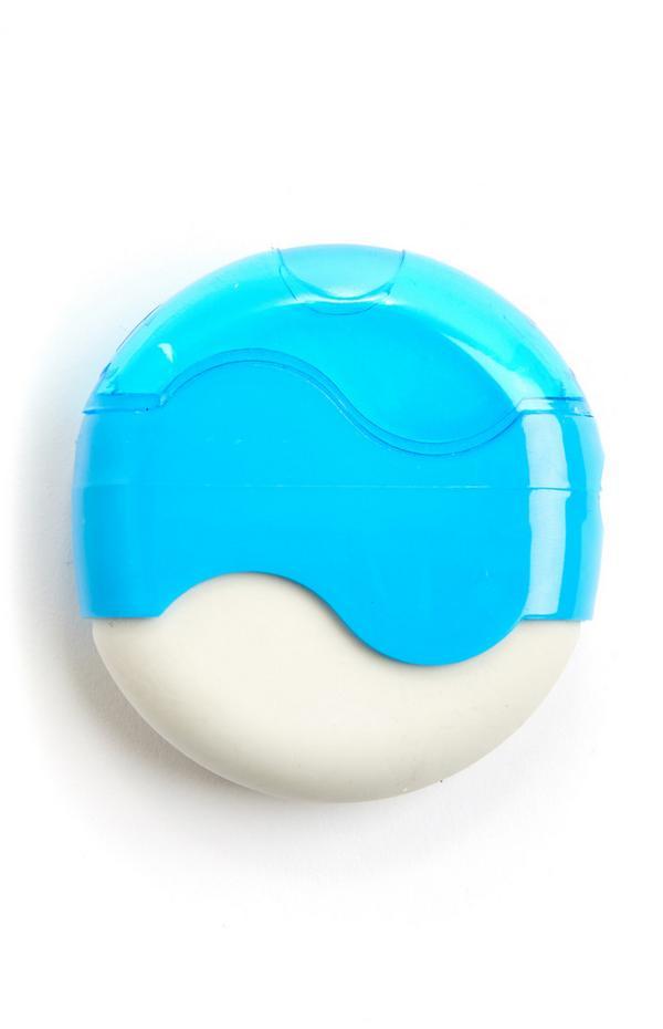 Goma de borrar azul redonda