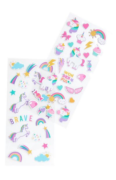 Pastelkleurige stickers eenhoorn en regenboog