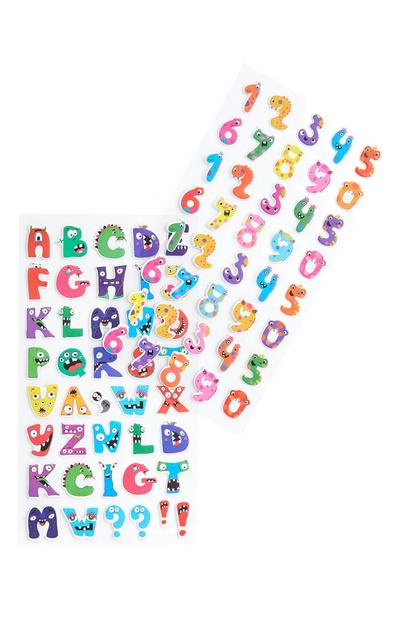 Multicolour Letters And Numbers Stickers
