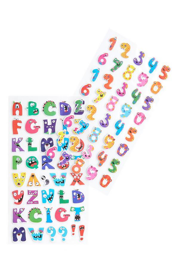 Adesivi multicolore con lettere e numeri