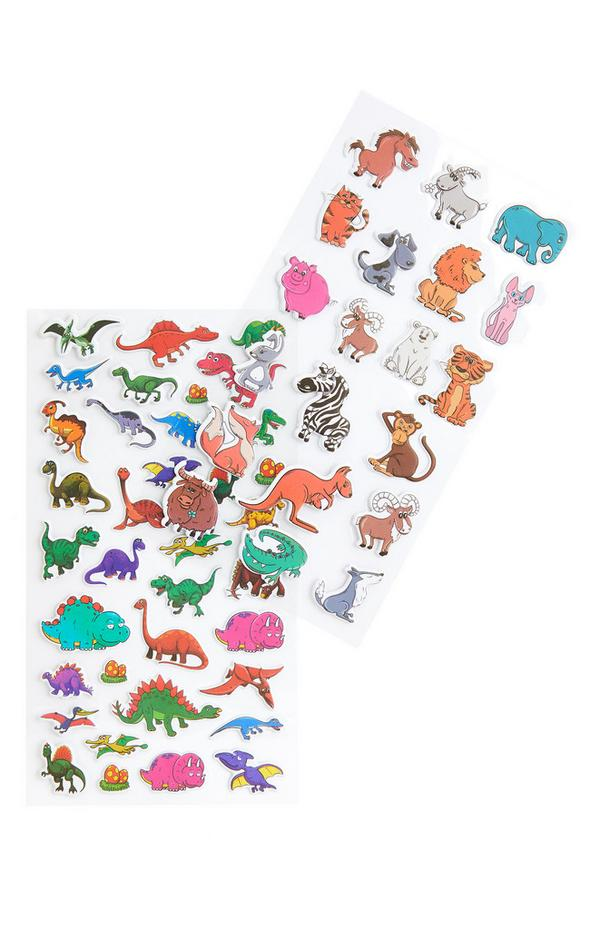 Veelkleurige stickers met dierenprint en dinosaurus