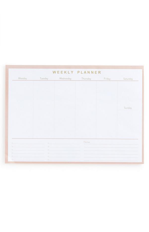 Bledo rožnat tedenski planer
