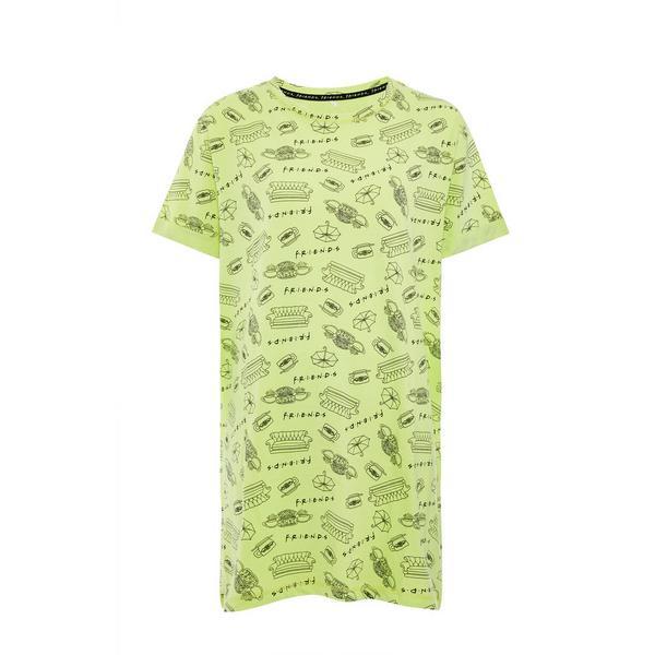 Neon Green Friends Print Nightshirt