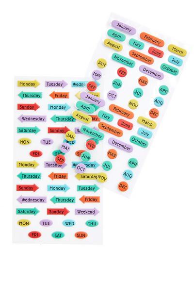 Stickerbogen mit verschiedenfarbigen Zeitangaben, 2er-Pack