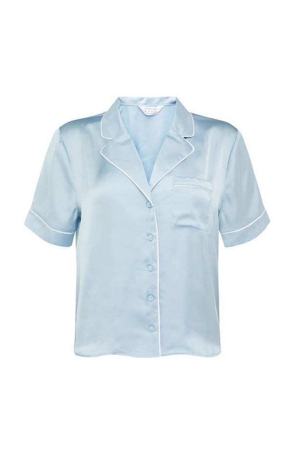Powder Blue Satin Button Up Pyjama Shirt