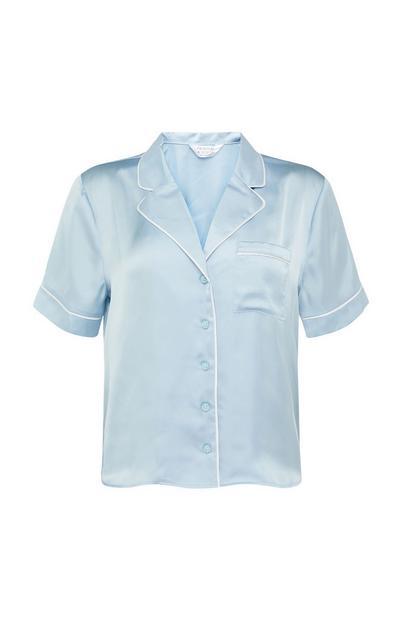 Camicia del pigiama blu cipria in raso con bottoni