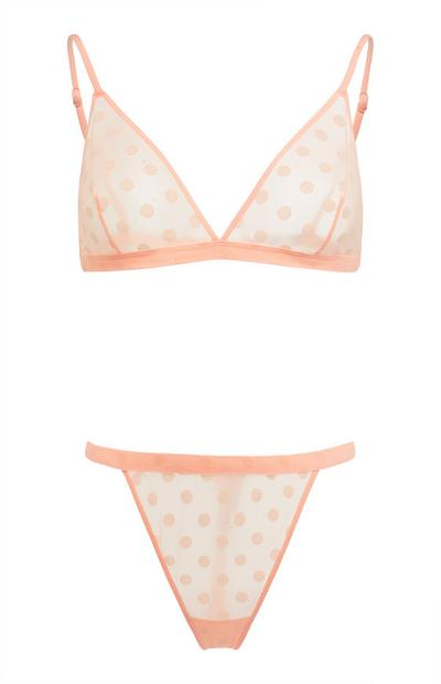 Peach Flocked Spot Lingerie Set