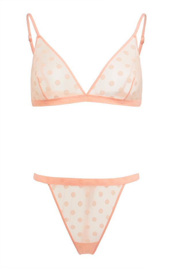 Conjunto lingerie rede bolinhas pêssego