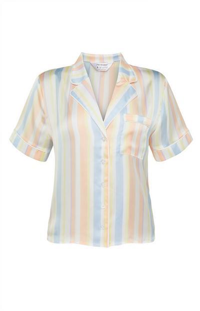 Pastel Stripe Satin Pajama Shirt