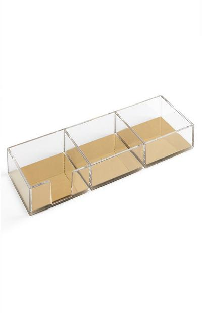 Clear And Gold Desk Storage Boxes