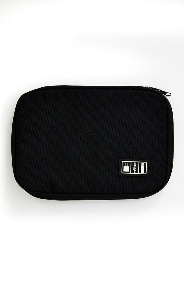 Black Zip Around Tech Pouch