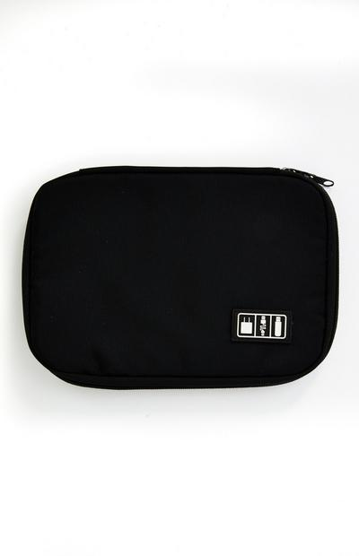 Black Zip Around Tech Pouch