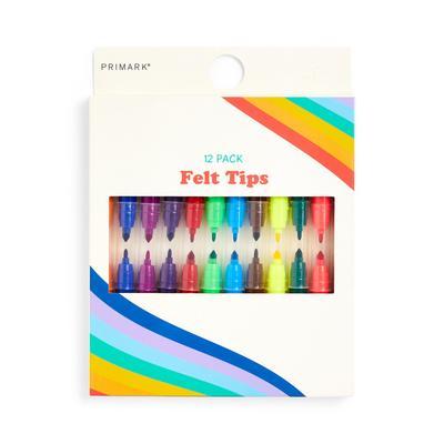 Multicolour Double Felt Tip Pen Set 12 Pack