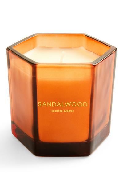 Geurkaars Sandalwood in zeshoekige glazen houder