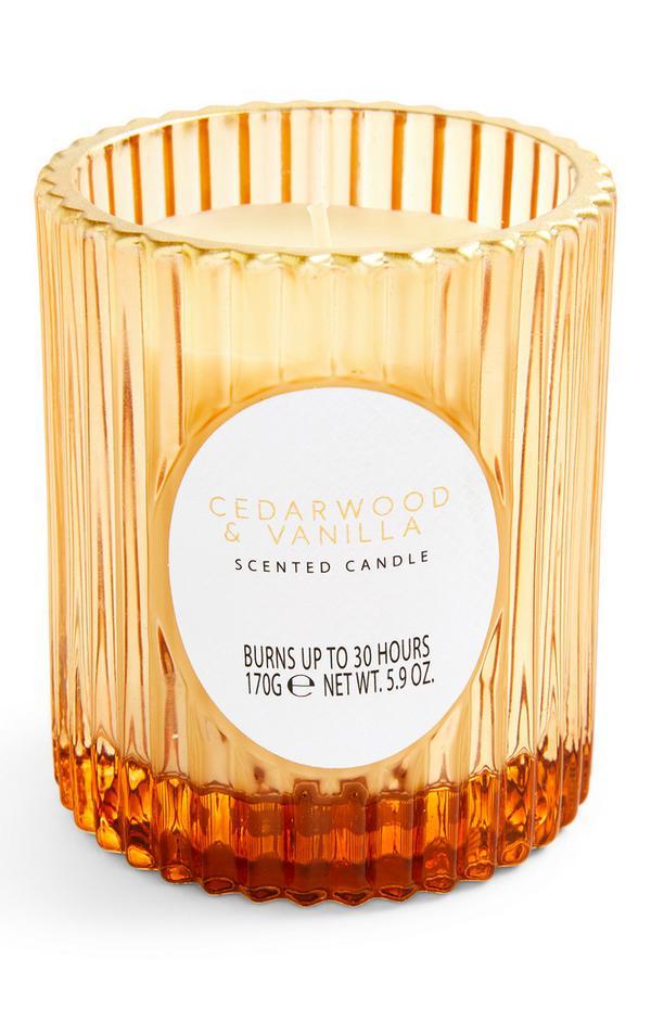 Geurkaars Cedarwood & Vanilla in glazen houder met ribbels
