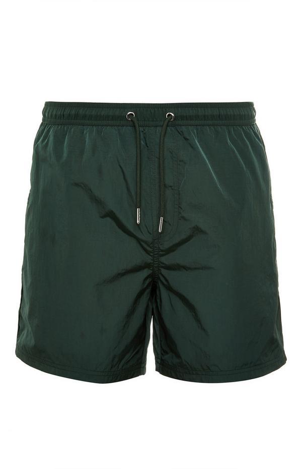 Waldgrüne, durchgehend gefütterte Nylon-Shorts mit Kordelzug
