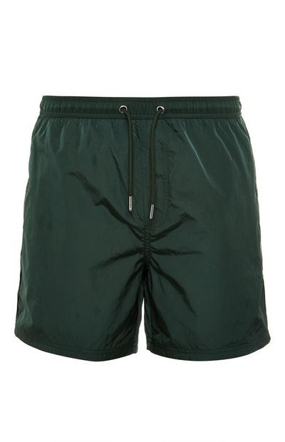 Forest Green Nylon Fully Lined Tie Waist Shorts