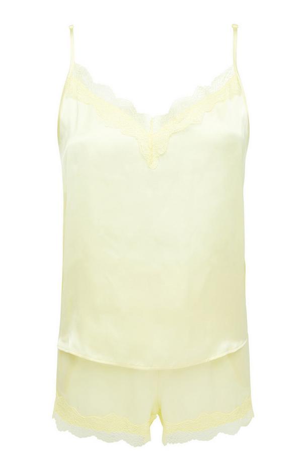 Lemon Yellow Satin Camisole And Shorts Pyjama Set