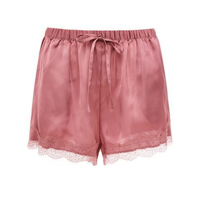 Blush Pink Satin Lace Trim Shorts