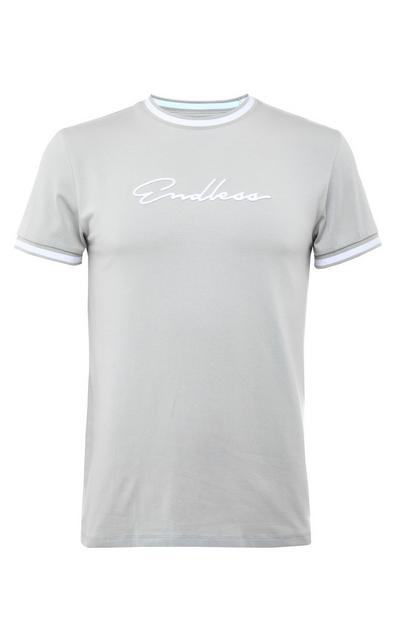 Chic grijs T-shirt met witte boorden