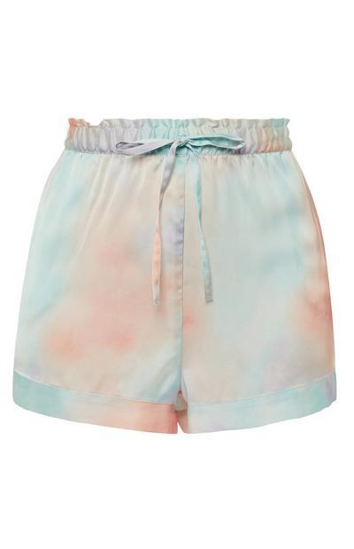 Shorts pastello con stampa in raso