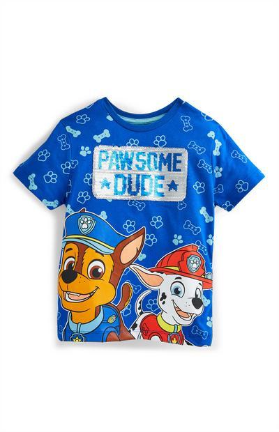 T-shirt lantejoulas Patrulha Pata para menino azul