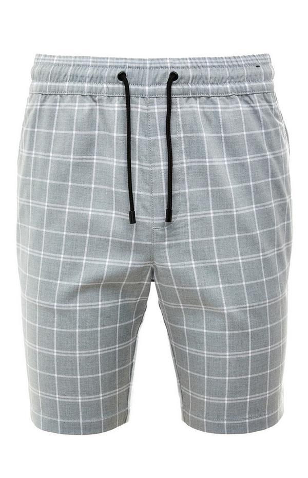 Sive kariraste elastične bermuda kratke hlače
