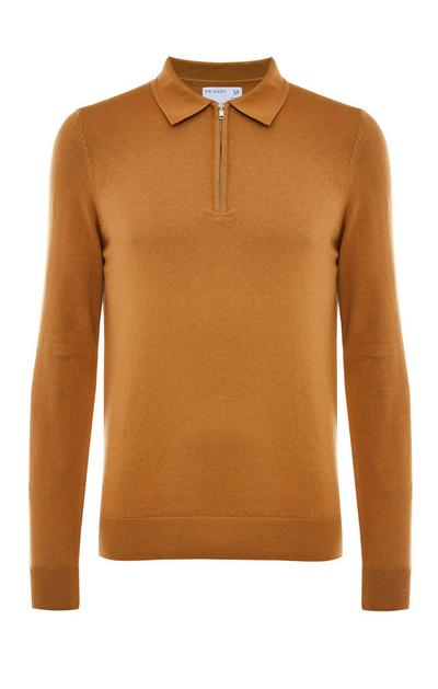 Tobacco Premium Long Sleeve Polo Sweater