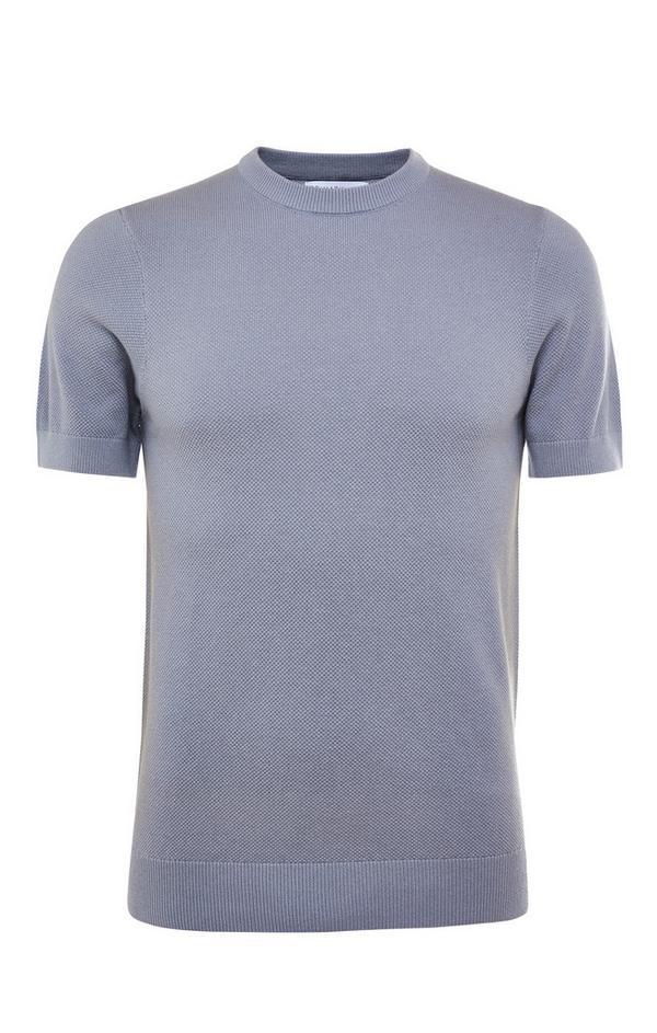 Siva premium majica s kratkimi rokavi in okroglim ovratnikom