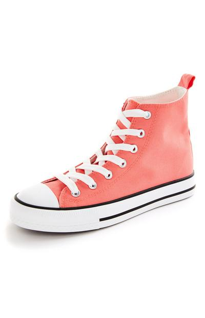 Coral Classic Canvas High Top Trainers