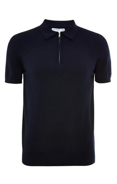 Navy Premium Short Sleeve Zip Polo Neck T-Shirt