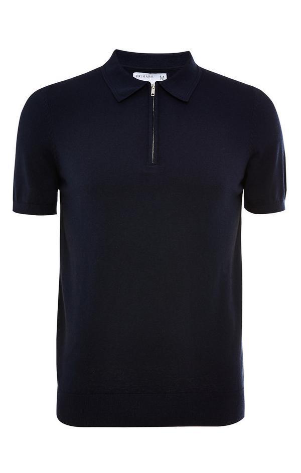 Premium donkerblauw T-shirt met polokraag met rits en korte mouwen