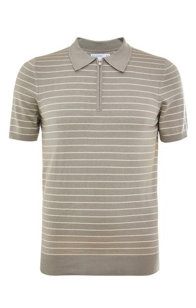 Khakifarbenes, gestreiftes Premium-Poloshirt mit Reißverschluss