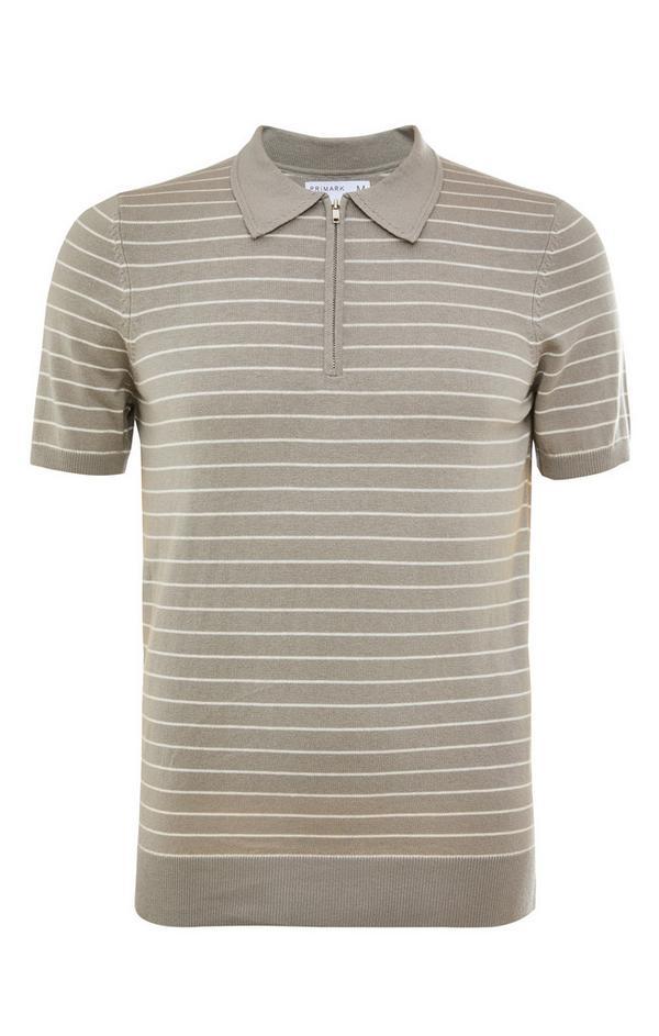 Premium kaki T-shirt met polokraag met rits en horizontale strepen